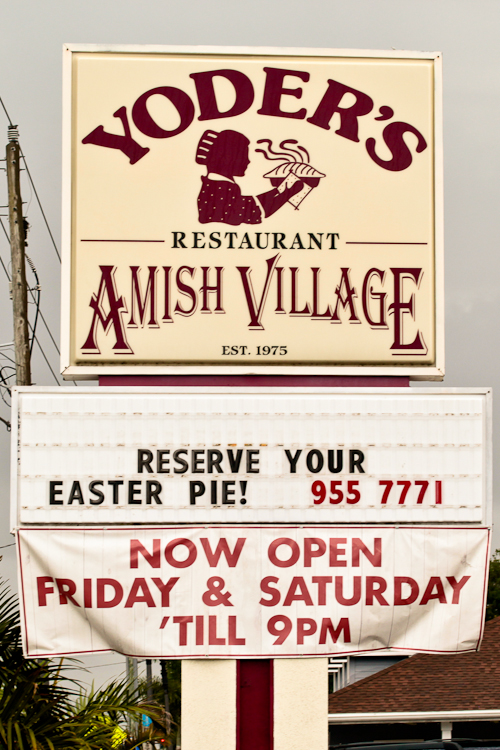 Yoder's Amish Village sign