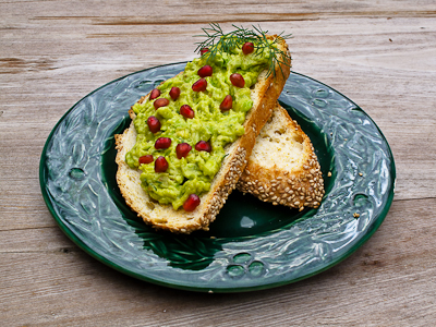 Avocado & Pomegranate Seeds on Toast