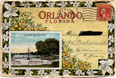 Canceled postage on the postcard album